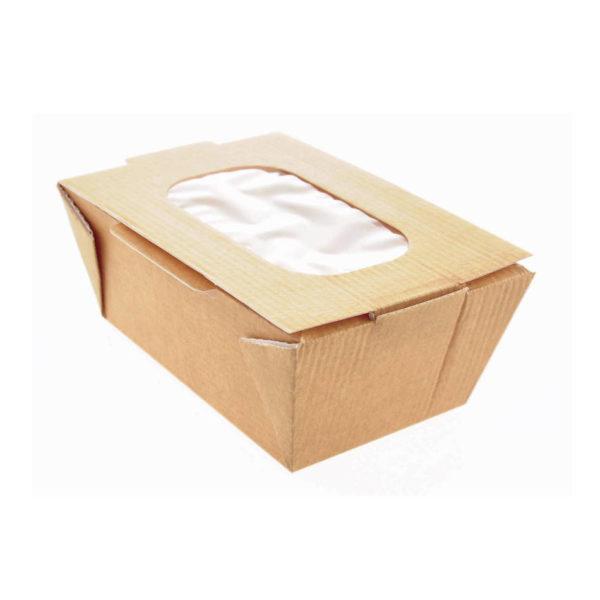 Papirnata kartonska posoda z oknom za tople in hladne jedi rjava