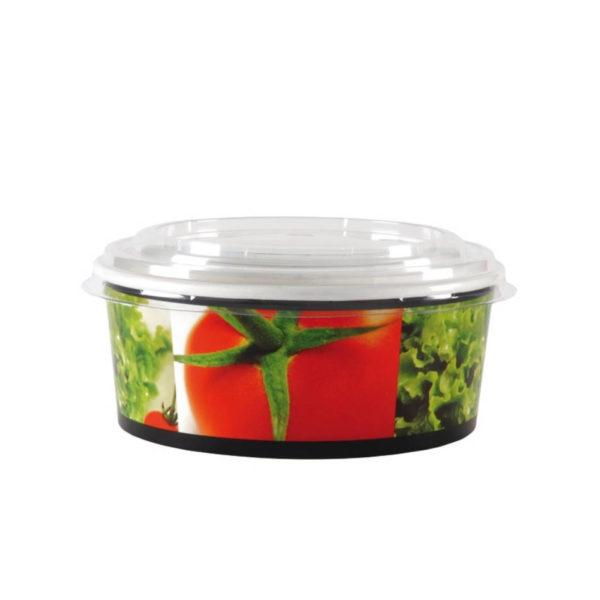 Papirnata posodica,skodelica za solato 750ml s pokrovom Huhtamaki