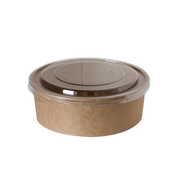 Papirnata posodica,skodelica za solato 750ml s pokrovom, kraft, rjava