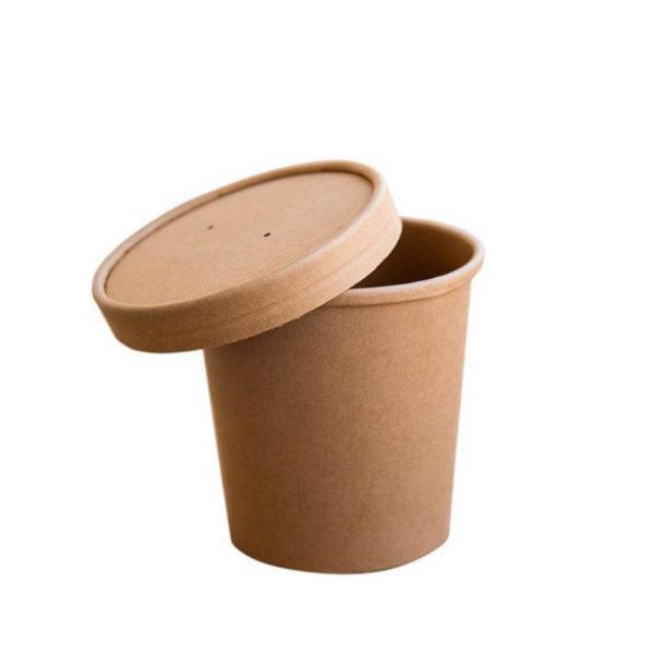 Papirnata posodica skodelica za juho enoloncnico 4dl s pokrovom kraft rjava
